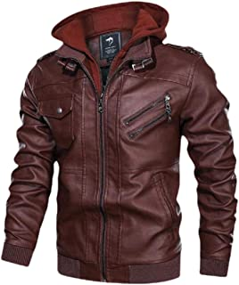 Men's Leather Hooded Jacket Zipper Long Sleeve Biker Motorcycle Outwear Warm Coat