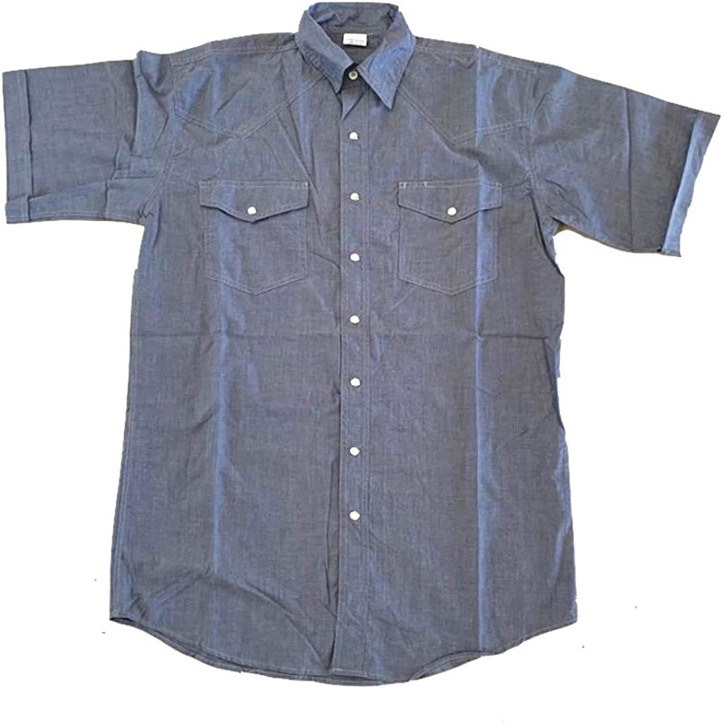 Men's Western Chambray with Snaps, Short Sleeve Work Shirt, 100% Cotton Yarn Dye