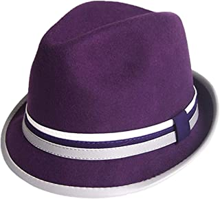a858600f32ff2 ASO-SLING Mens Fedora Hats Unisex Classic Short Brim Artificial Wool Felt  Trilby Gangster Panama