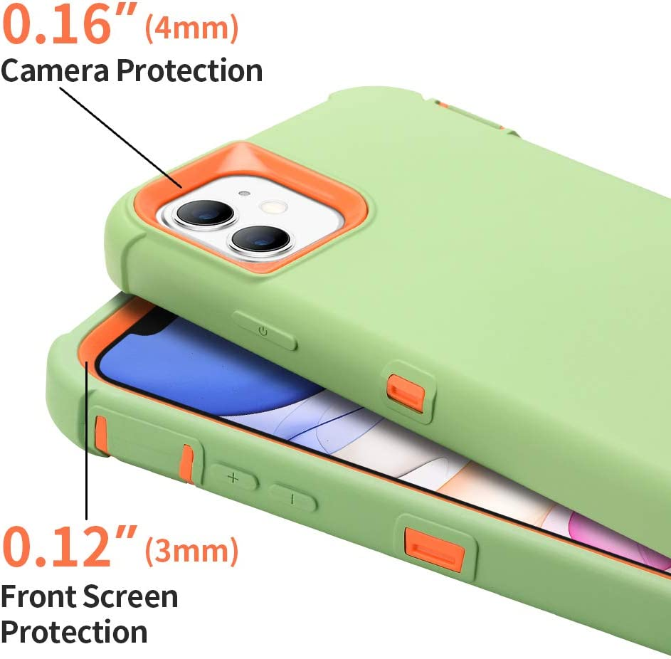 Sansunto for iPhone 11 Case, Durable Heavy Duty Shockproof Full Body Protective Case 3in1 Hard PC Bumper and Soft Silicone Back Cover for iPhone 11 6.1 inches (Matcha Green/Orange)