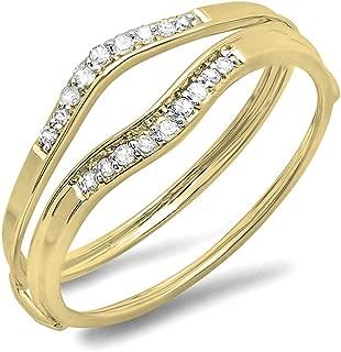 0.12 Carat (ctw) 10K Gold Round White Diamond Ladies Anniversary Enhancer Guard Wedding Band