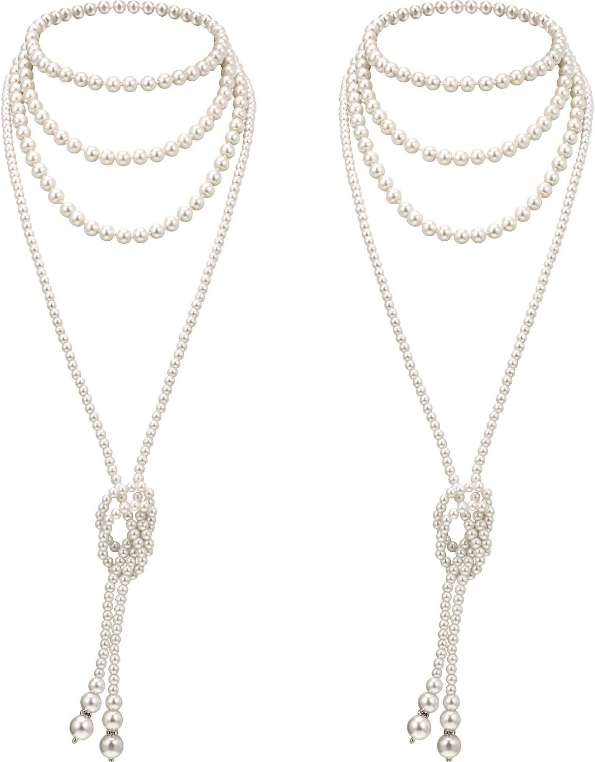 Max 68% OFF 4 Pieces Flapper Long Artificial 1920s NEW before selling ☆ Pearls Beads Ar Necklaces