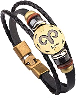 Leather Bracelet for Men Women Punk Alloy Constellation Braided Rope Bracelet Bangle Wristband
