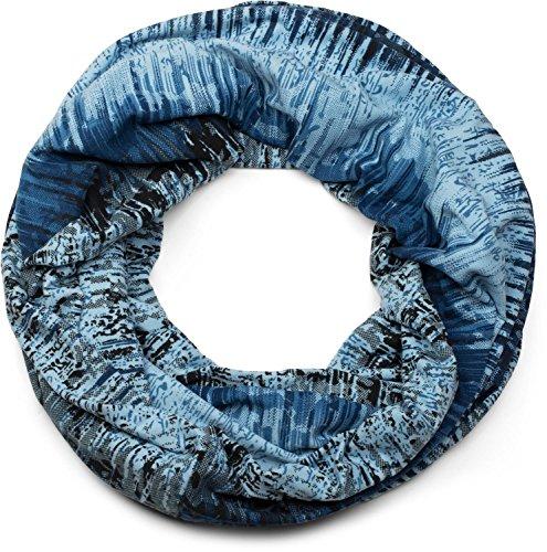 styleBREAKER Loop Schal mit Vintage Streifen Flecken Muster, Schlauchschal, Tuch, Unisex 01017051, Farbe:Blau