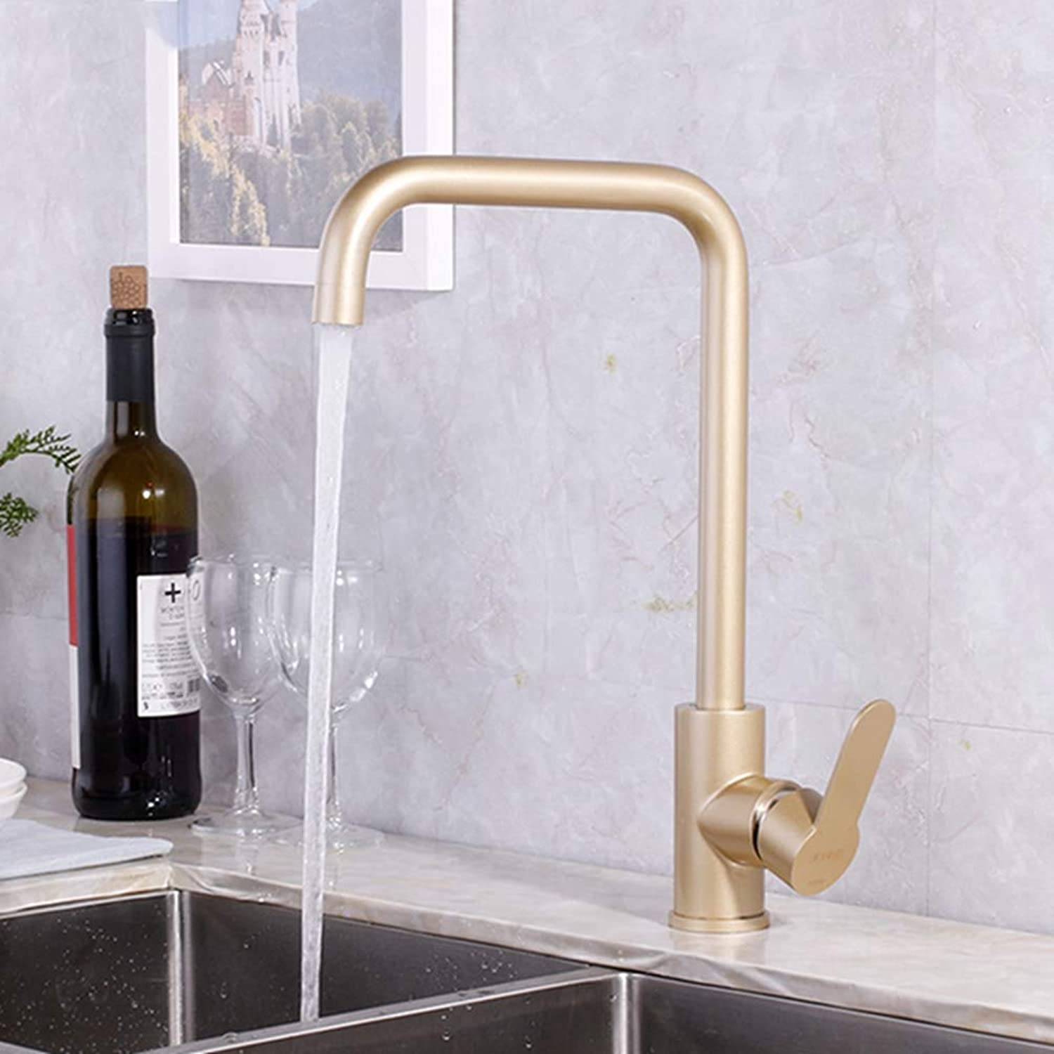 FZHLR Luxury Kitchen Faucet Brass for Cold and Hot Mixer Tap Sink Faucet Vegetable Washing Basin 360 Degree Swivel Basin Tap,Paint gold B