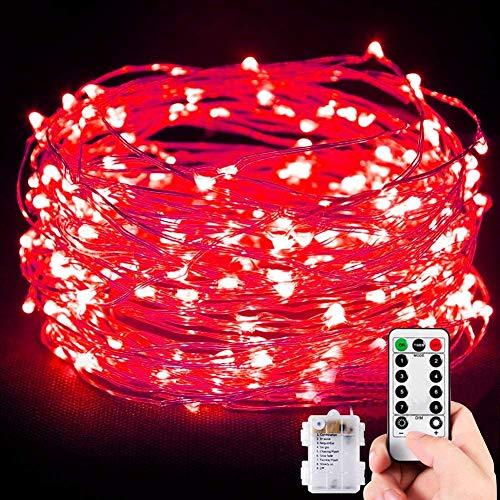TOPLIFE Guirlande lumineuse d'extérieur - 10 m - 100 LED - Fonctionnement à piles - Pour fête, carnaval, Noël, extérieur, festival, etc. - Batterie rouge