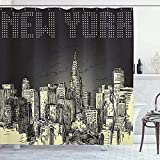 Cortina de ducha de Nueva York Grunge Pop Art Style Retro NYC Sky con icónico Empire States Building City Tela de impresión de tela Decoración de baño Set con ganchos Amarillo GrisNew York Tenda da do