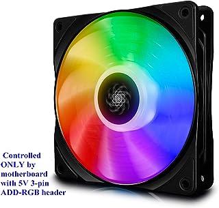 DEEP COOL CF120 PWM Ventilador RGB(120mm) Silencioso de Alto Rendimiento, Solo Controlado por la Placa Base con Cabezal de 5v 3-Pin