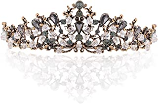 Catery Baroque Tiaras and Crowns Black Crystal Wedding Bride Queen Crowns for Women Decorative Princess Tiaras Hair Accessories for Prom