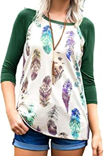 Clearance!! Women's Fashion Feather Print Blouse GoodLock Plus Size Loose Long Sleeve Top T-shirt
