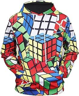SQQZ Hoodie Hoodies Man Sweatshirt for Mens Womens Ladies Jumpers,UnisexCouple Fashion3DHoodiesPrintedHoodiePulloverRubik's Cube GraphicSweatshirtsHoodedwithPockets