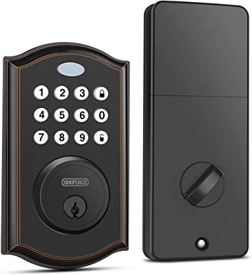 Keypad Deadbolt Lock, Keyless Entry Door Lock with 50 Codes, Easy to Install and Program, Door Locks with Keypads, Electronic Deadbolt with Auto-Lock and Alarm, Top Security for Home and Office
