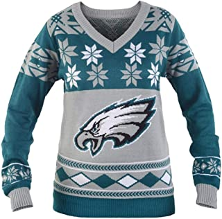 NFL Women's V-Neck Sweater, Philadelphia Eagles, Small