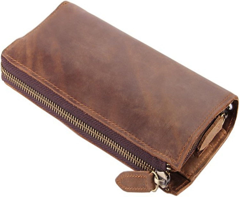Asdflina Leicht zu tragen Herren Leder Brieftasche Vintage Lange Geldbörse Kupplung Herren 1-Fach Brieftasche Braun Geeignet für den täglichen Gebrauch B07H7TSCH6