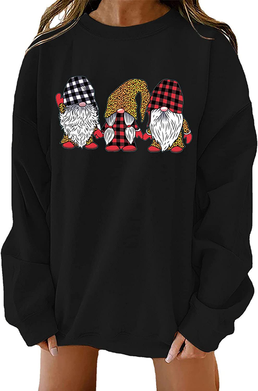 Women's Christmas Crewneck Sweatshirts Funny Plaid Gnome Printed Oversize Boyfriends Pullovers Tunic Tops