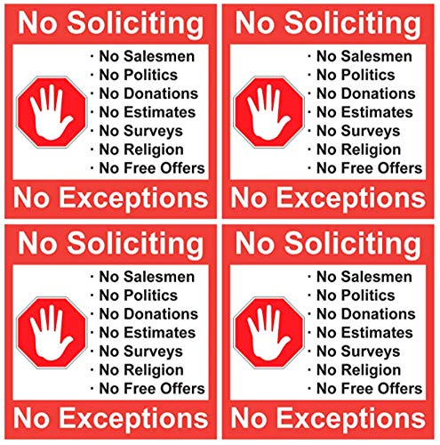 """""""No Soliciting"""" 4 Pack of 5 X 5 Inch No Soliciting Decal Vinyl Self-Adhesive Door & Window Stickers"""