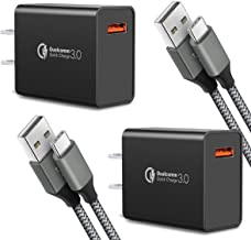 Quick Charge 3.0,USB Type-C Cable with Adaptive Fast Wall Charger Compatible for Samsung Galaxy S8 S8 Plus S9 S9 Plus,LG G...