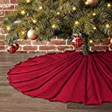 LimBridge Christmas Tree Skirt, 48 inches Knitted Ruffled Rustic Pleated Thick Heavy Yarn...