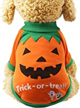 Aunimeifly Halloween Pet Clothes Puppy Pumpkin Printed Shirts Witch Tops Sweatshirts Dog Costume Pullover