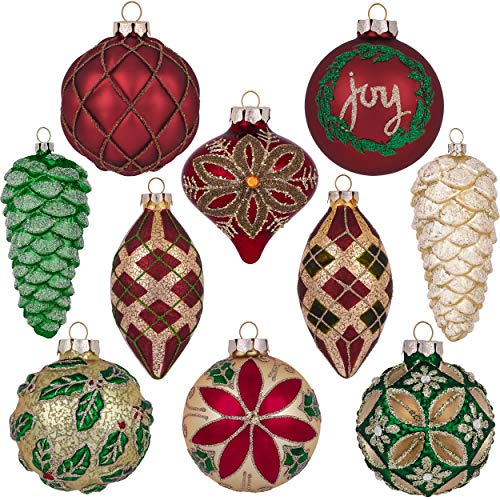 Valery Madelyn 10ct Traditional Glass Christmas Ball Ornaments Red Green Gold,Themed with Tree Skirt(Not Included)