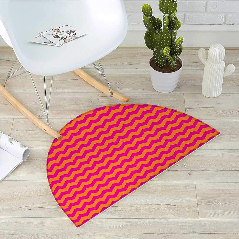 orange and Pink Semicircle Doormat Horizontal Zigzag Pattern Chevron Stripes in Vibrant colors Geometric Halfmoon doormats H 39.3  xD 59  orange Magenta