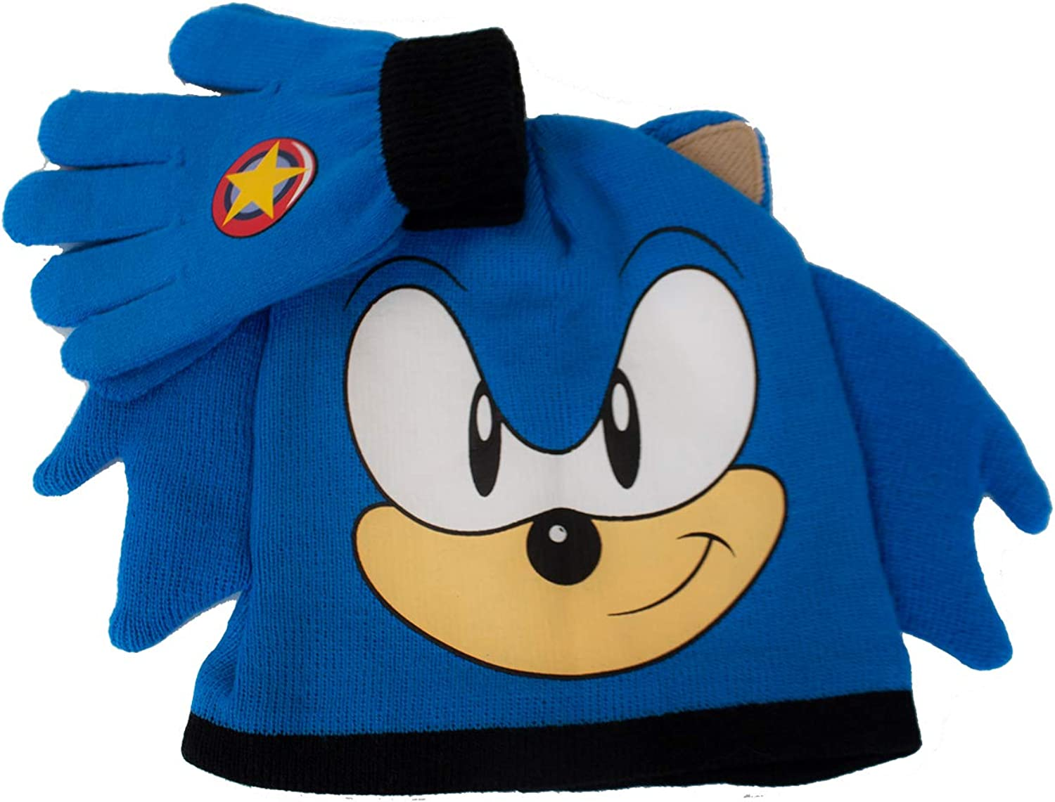 Concept One Boy's Little Sega Sonic The Hedgehog Winter Beanie and Glove Set, Blue, One Size