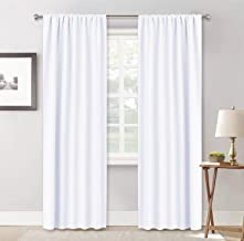 RYB HOME White Curtains for Bedroom - Privacy Window Curtains Sunlight & UV Shades 50% Room Darkening for Bedroom Bath Office Living Room, 42 x 84 inch, Pure White, 1 Pair