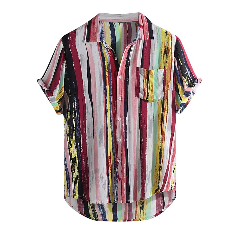 Linen Shirts for Men,??ONLY TOP?? Mens Linen Button Up Shirts Short Sleeve Comfort T-Shirts Color Block Stripes Shirt