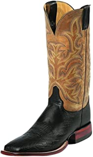 Justin Men's Smooth Ostrich AQHA Remuda Western Cowboy Boot Square Toe Black 11 B (M) US