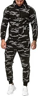 Beautyfine 2019 Men's Tracksuit Set Camouflage Sweatshirt Jogger Sweatpants Solid Patchwork Warm Sports Suit