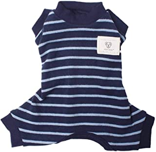 TONY HOBY Pet Clothes Stripe Dog Cat Pajamas, Autumn Winter Dog Jumpsuits Baby Standard Material Dark Blue