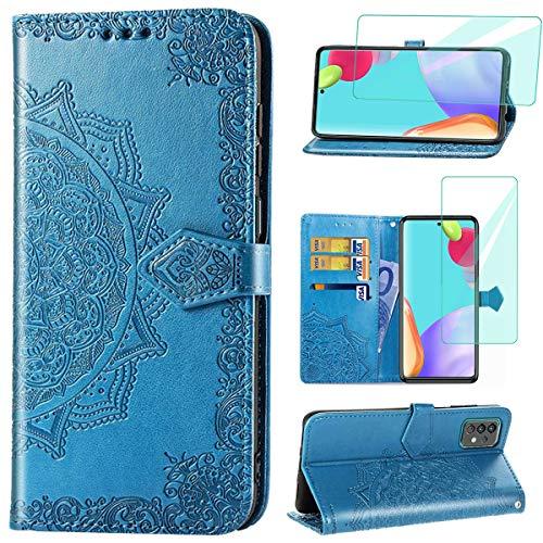 Yohii Funda para Samsung Galaxy A52 5G + Cristal Templado, Libro Caso Piel PU Soporte Plegable Ranuras Cartera con Tapa Tarjetas Magnético Cuero Flip Carcasas, Case para Samsung Galaxy A52 - Azul
