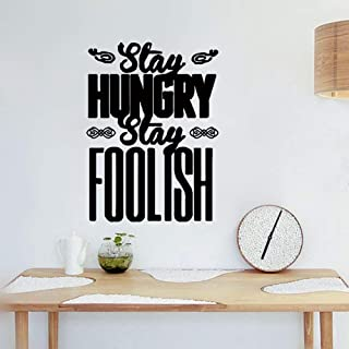 slepat Motivational Wall Sticker Quotes Stay Hungry Stay Foolish Art Font Design Decorative Stickers for Study Room Nursery Kids Room Living Room