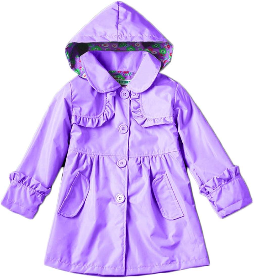 Huicai Little Girls Child Hooded Jacket Outwear Rain Suit Coat Girls 2-8 Years