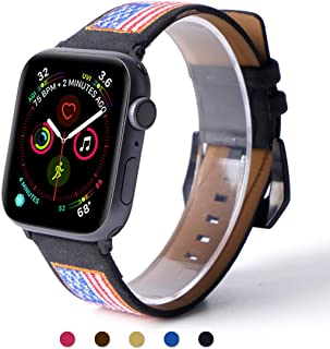 ARTCHE Leather Watch Strap for Apple Watch Strap 40mm 38mm USA Flag Embroidery Replacement Band American Flags Embroidered Stars Stripes Wristband Belt, Compatible with iWatch Series 1 2 3 4 5, Black