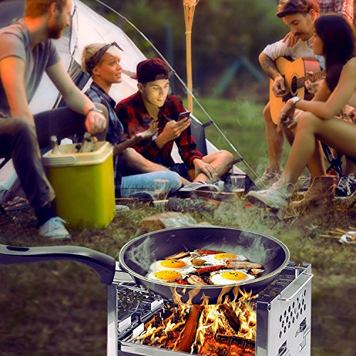 Product Image 1: Unigear Wood Burning Camp Stoves Picnic BBQ Cooker/Potable Folding Stainless Steel Backpacking Stove