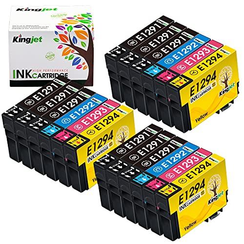 Kingjet 18 pack Cartucce Compatibili con Epson 129xl T1291 T1292 T1293 T1294 per Epson Workforce WF-3520 Epson Stylus SX435W SX235W SX420W SX230 SX425W SX440W SX445W Epson Stylus Office BX535WD