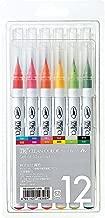Kuretake Fude Brush Pen, Clean Color Real, 12 Colors Set (RB-6000AT/12VA)