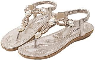 Hemlock Women Size 4.5-10 Flat Sandals Bohemia Pearl Sandal Shoes (US:8.5, Gold)