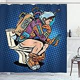 ABAKUHAUS Astronaut Duschvorhang, Thinking Man Raum, mit 12 Ringe Set Wasserdicht Stielvoll Modern Farbfest & Schimmel Resistent, 175 x 200 cm, Dunkelblau Multicolor