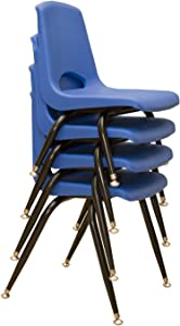 """Learningground School Stack Chairs with Steel Legs Nickel-Plated Swivel Glides 12"""" Blue (6)"""