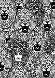 tiandushangdian Pintura Animal Abstracta León Reloj Cocodrilo Cámara En Blanco Y Negro Arte Sala De Estar Arte Cartel Lienzo Pintura Sin Marco G1877 (50X70Cm)