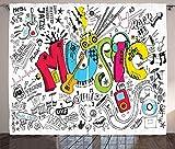 Waple Cortinas opacas ojete para sala de estar Cortina de música, instrumento musical de fondo musical de estilo cuervo, ilustración de arte sonoro 280*300cm Opaca Cortina para Habitación Térmica Aisl