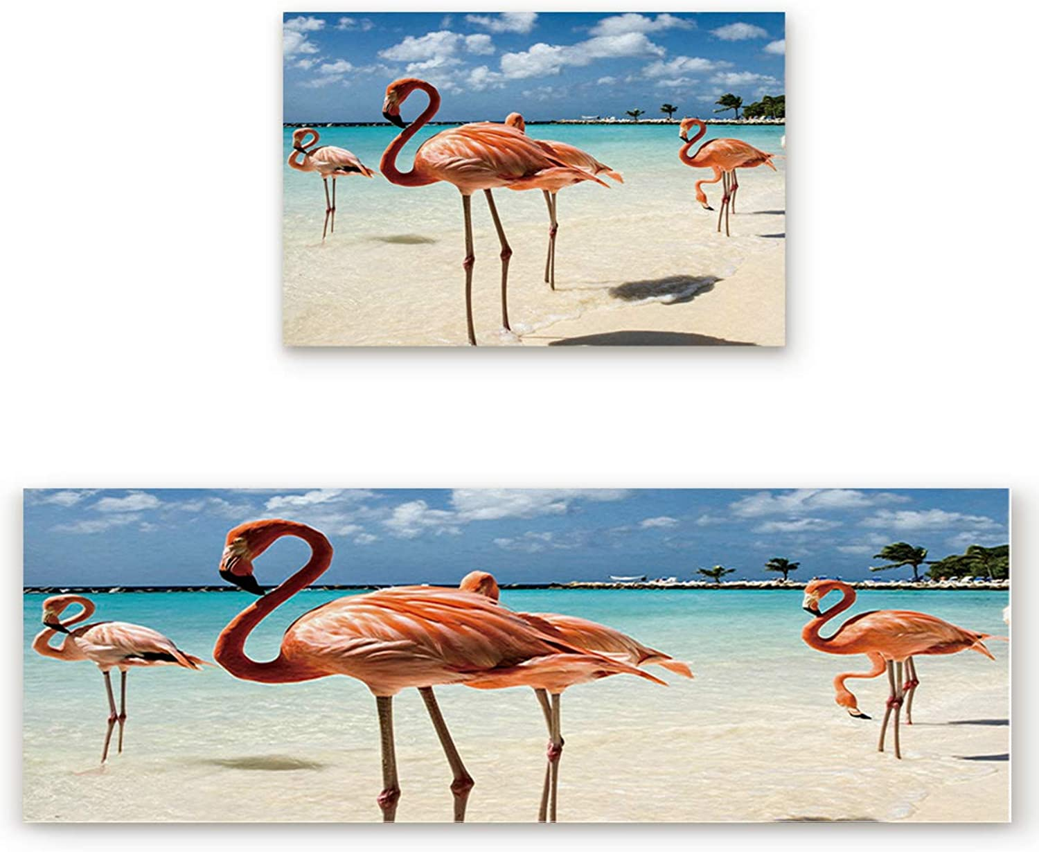 SODIKA 2 Pieces Kitchen Rug Set,Non-Skid Slip Washable Doormat Floor Runner Bathroom Area Rug Carpet,Flamingos on The Tropical Beach (19.7x31.5in+19.7x63 inches)