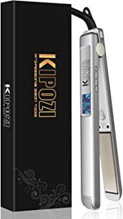 KIPOZI Professional Hair Straightener Nano-Titanium Flat Iron Anti-Frizz,1 Inch Straightening Iron with Adjustable Temperature Suitable for All Hair Types, Instant Heat Up and Dual Voltage,Silver