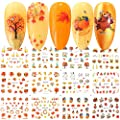 Fall Nail Stickers Halloween Thanksgiving Nail Art Accessories Decals 12 Sheets Maple Leaf Pumpkin Turkey Water Transfer Nail Art Stickers for Women Girls Kids DIY Thanksgiving Day Decorations