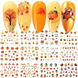 BFY Fall Nail Stickers Halloween Thanksgiving Nail Art Accessories Decals 12 Sheets Maple ...