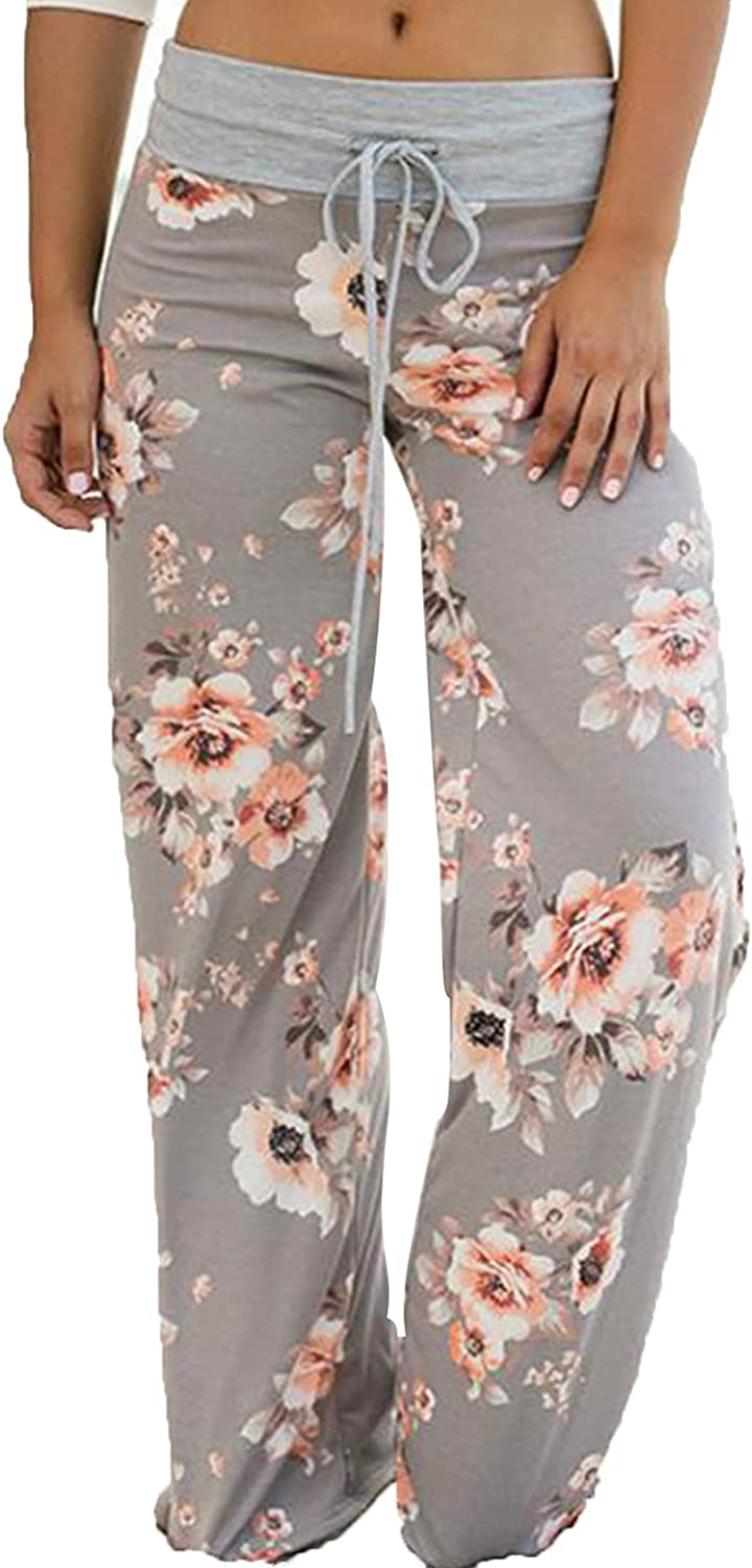 Women's Printed Wide-Leg Pants Comfy Stretch Floral Print Drawstring Lounge Trousers Casual Stretchy Casualpants (Medium,Grey1)