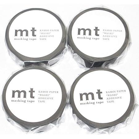 カモ井加工紙 マスキングテープ mt マットブラック(MT01P207:幅15mm 長さ10m)× 4個