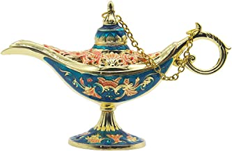 AVESON Vintage Collectable Rare Legend Hollow Aladdin Magic Genie Costume Lamp Home Table Decoration & Gift Gold & Blue Small